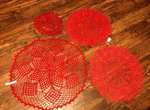 Red Doily 4 Piece Set