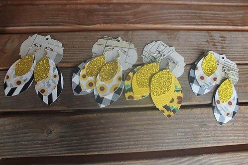 Triple Layer Sunflower Earrings