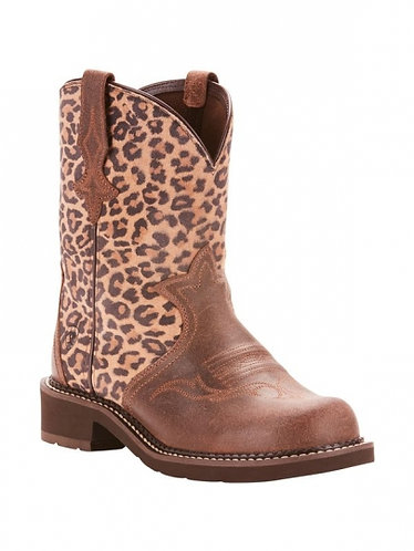 Ariat Womens Fatbaby Heritage Tri Java Leopard Suede Boot