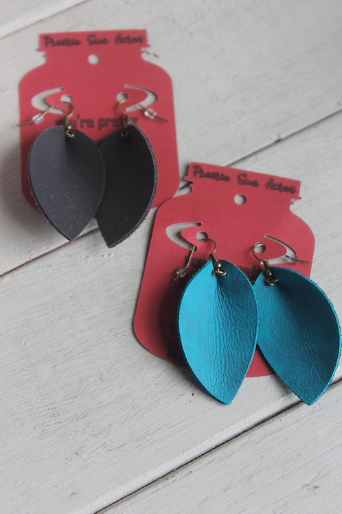 Leather Marquee Pinched Earrings