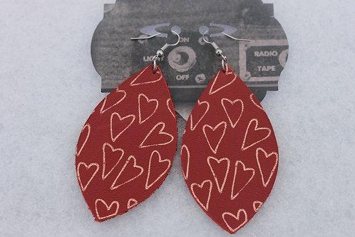 Red Marquise w/Heart Earrings