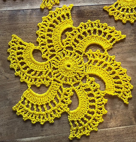 Yellow Spiral Small Doilies