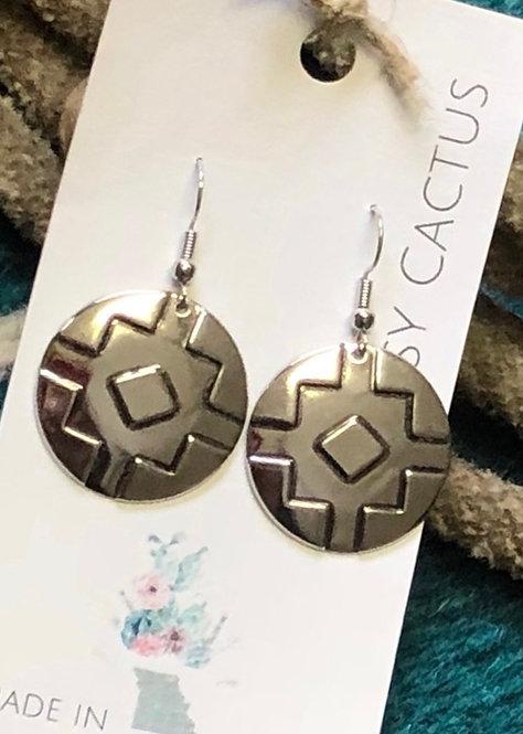 Silver Medallion Dangle Earrings