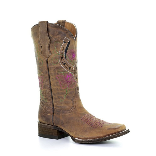 Corral® Girls' Brown Flowers & Horseshoes Embroidered Boots