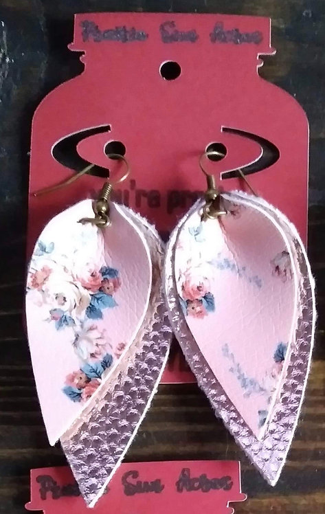 Floral Reverse Teardrop Dangle Earrings