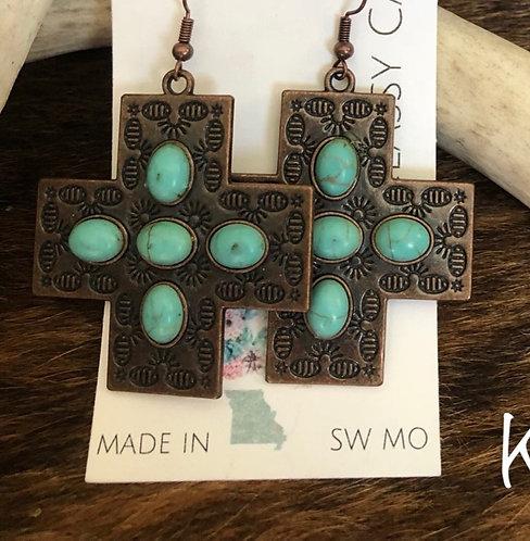 Turquoise/Bronze Cross Earrings