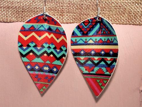 Aztec Reverse Teardrop Earrings