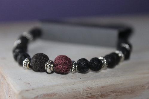 Black/Burgundy Lava Stone Bracelet