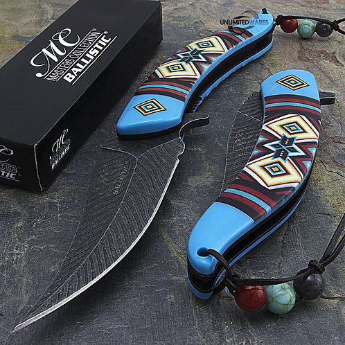"""Blue Native American Spring Assisted 8.5"""" Knife"""