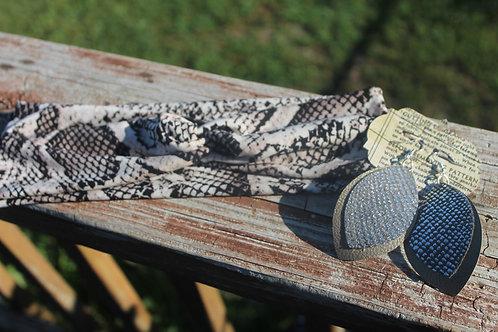 Black/White Snake Print Headwrap