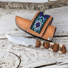 Blue Beaded Sheath With Knife Set