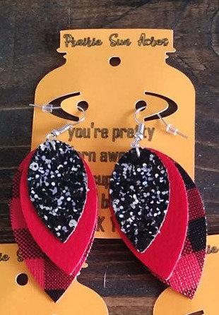 Red/Black Triple Reverse Teardrop Earrings