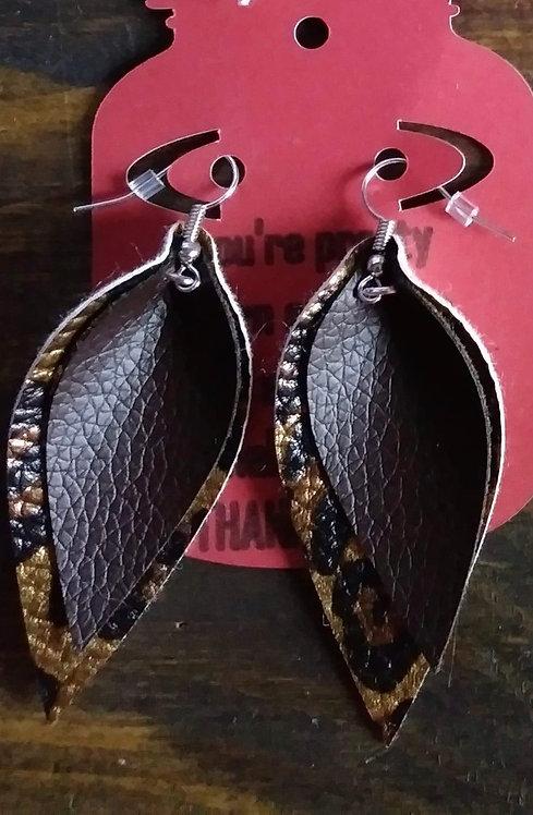 Chocolate/Leopard Marquee Dangle Earrings