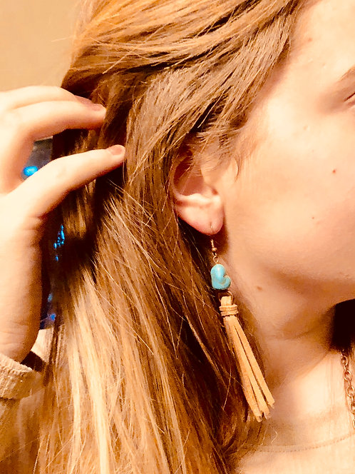 Turquoise and Leather Tassel Earrings