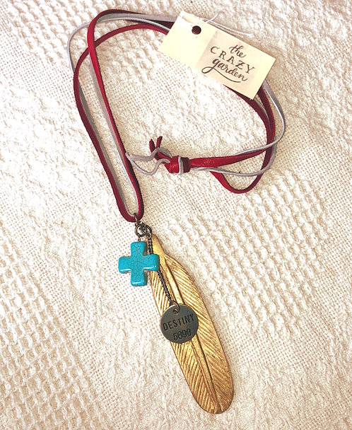 Destiny Gold Feather Leather Necklace