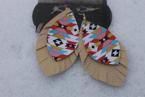 Aztec Print w/Tan Fringe Earrings