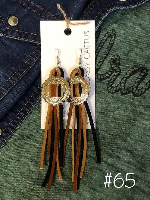 Black/Tan Leather Conco Earrings