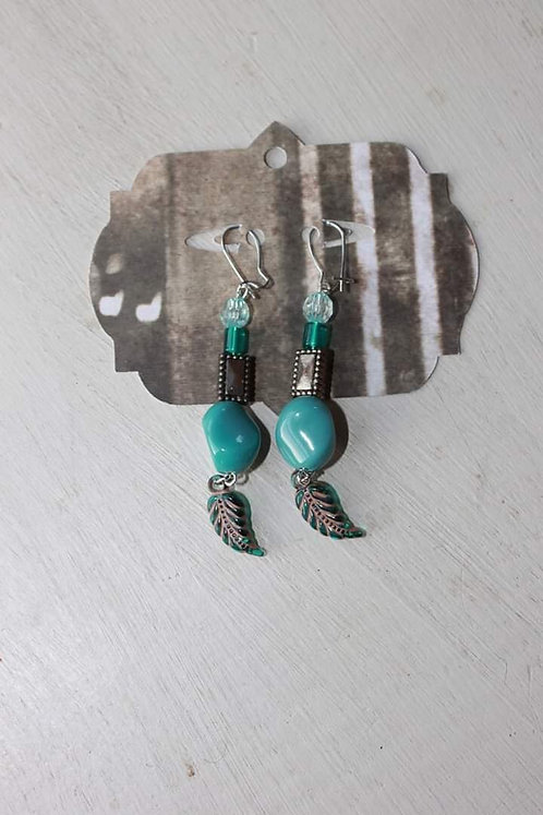 Small Turquoise/Feather Dangle Earrings