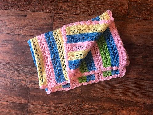 Pastel Baby Blanket - Pink Trim