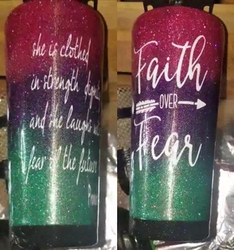 """""""Faith Over Fear"""" Rainbow Tumbler"""