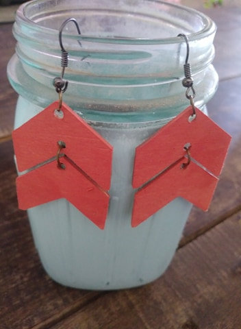 Solid Color Chevron Wooden Earrings