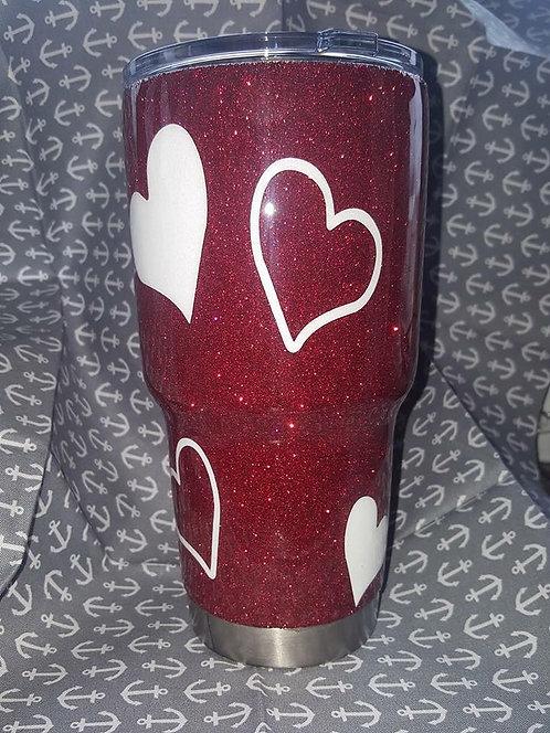 Heart Glitter Tumbler