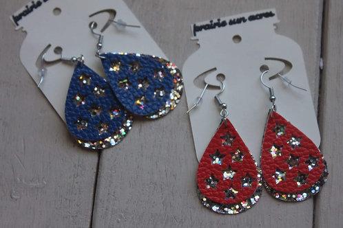 Star Cutout/Glitter Dangle Earrings