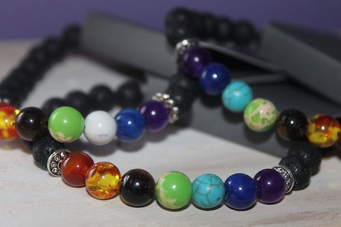 Multi Colored Lava Stone Bracelet