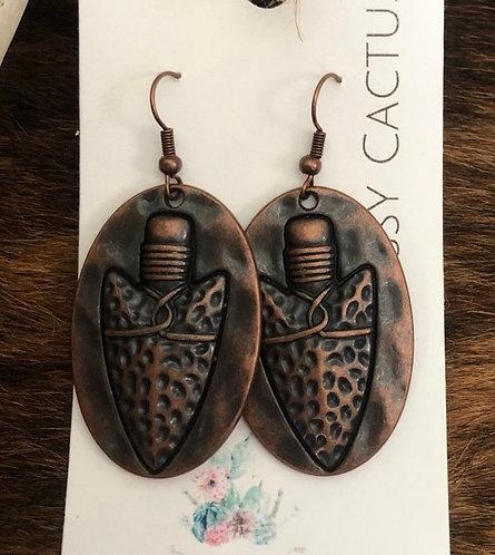 Copper Arrowhead Medallion Earrings