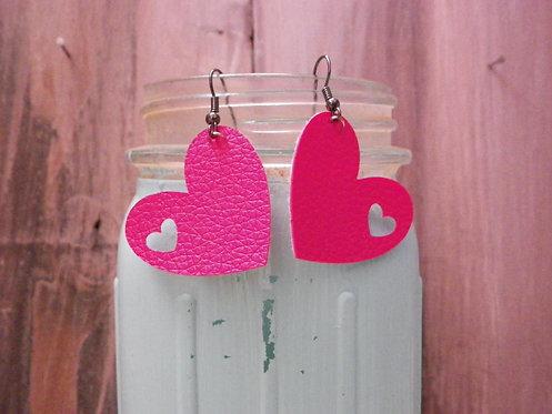 Rose Heart Dangle Earrings