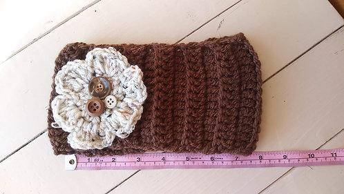 Chocolate w/Cream Flower Ear Warmer