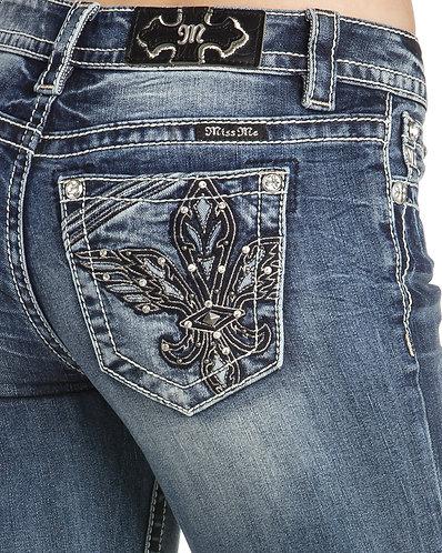 Miss Me Women's Fleur De Lis Boot Cut Jeans