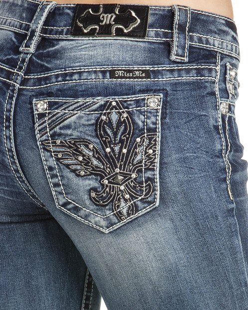 ef4cc66e1e0 These jeans feature a medium rise and boot cut style. The eye-catching embroidered  design on the back pockets ...