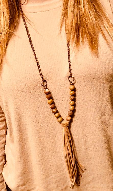 Wooden Beaded/Tassel Necklace
