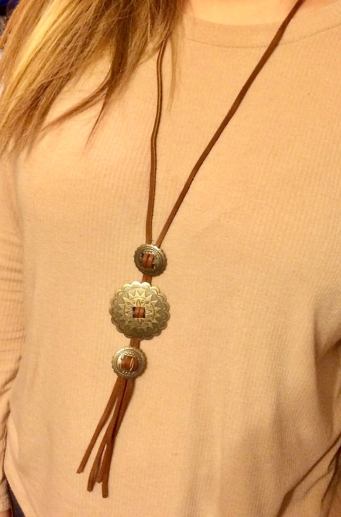 Leather & Concho Necklace