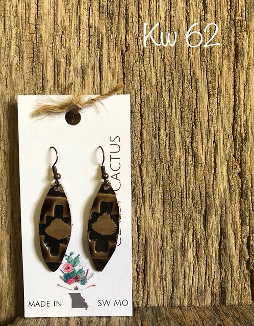 Oblong Stamped Leather Dangle Earrings