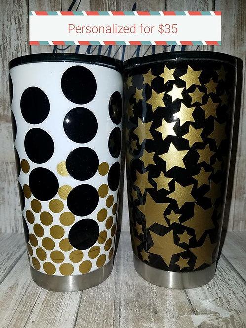 Dots/Stars Painted Tumbler