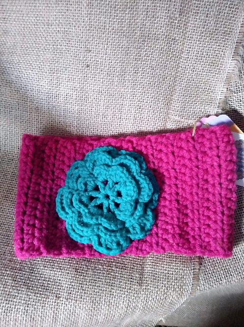 Pink w/TQ Flower Ear Warmer