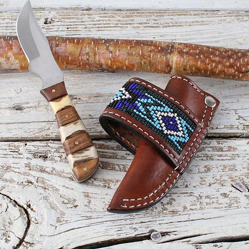 Brown Leather Beaded Knife Sheath Set