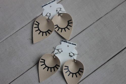 Cream/Black Teardrop Earrings