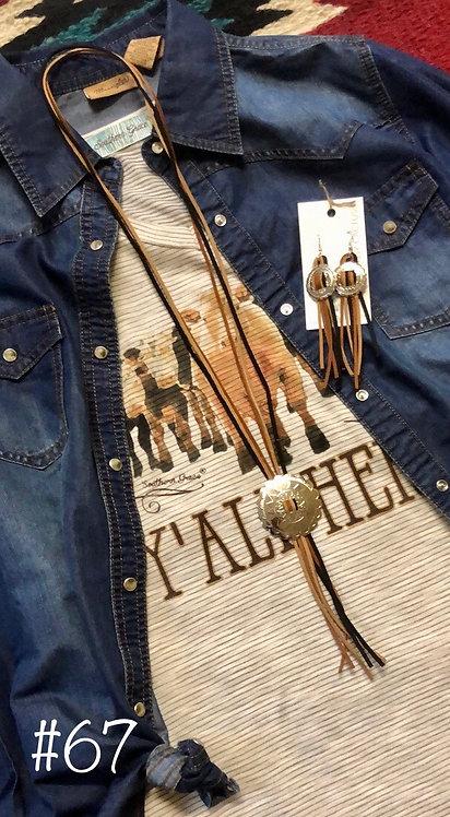Black/Tan Leather Conco Necklace