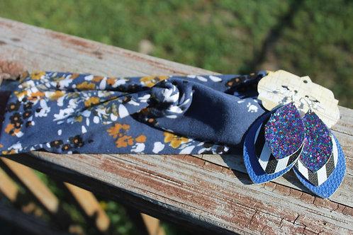 Navy Floral Headwrap