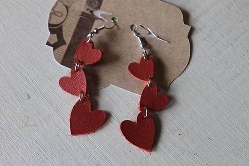 Red Dangle Heart Earrings
