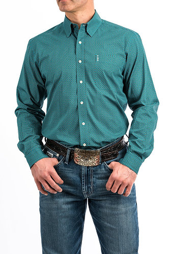 Cinch MENS TURQUOISE AND BROWN GEOMETRIC PRINT WESTERN BUTTON-DOWN SHIRT