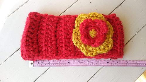 Red/Gold w/Flower Ear Warmer