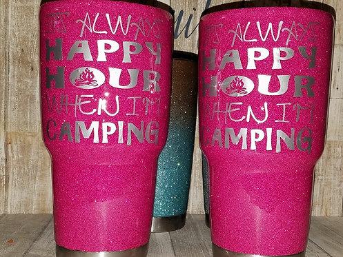 Happy Hour Glittered Tumbler