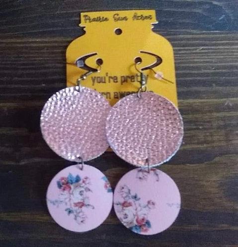 Double Pink Circle Dangle Earrings
