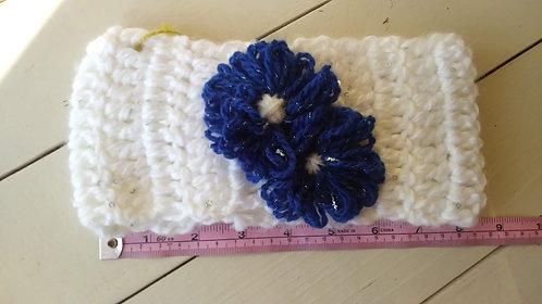 White /Royal Flower Ear Warmer