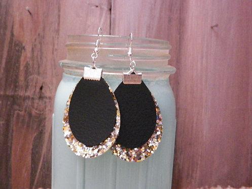Black/Gold Glitter Dangle Earrings