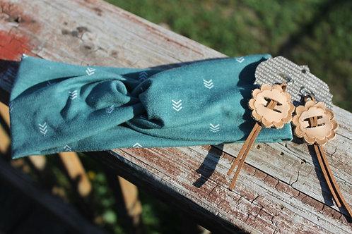 Hunter Green w/Arrows Headwrap